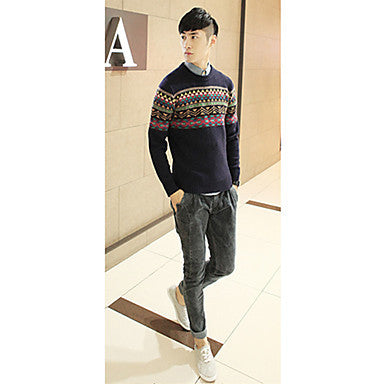 Men's Vintage Round Collar Printed Sweater