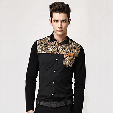 Men's Lapel Splicing Long Sleeve Shirts