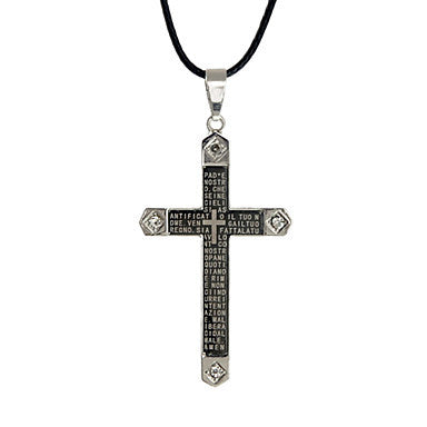 European (Cross Pendant) Black Titanium Steel Pendant Necklace(Black And White) (1 Pc)