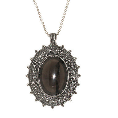 Exquisite Texture Edge Oval Diamond Necklace