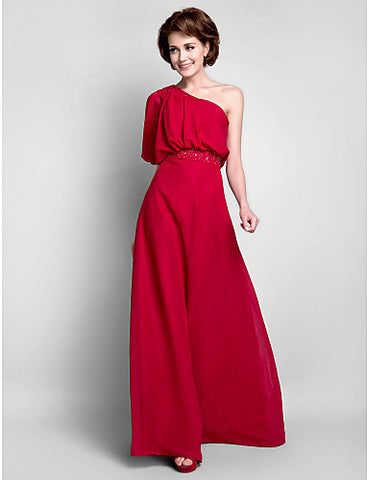 Sheath/Column One Shoulder Floor-length Chiffon Mother of the Bride Dress