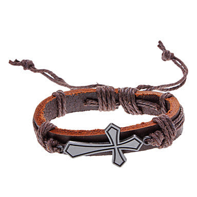 Unisex Cross Fabric Leather Adjustable Bracelet(Random Color)