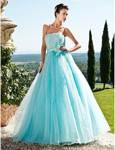 Ball Gown Strapless Floor-length Tulle And Satin Evening/Prom Dress With Sequins
