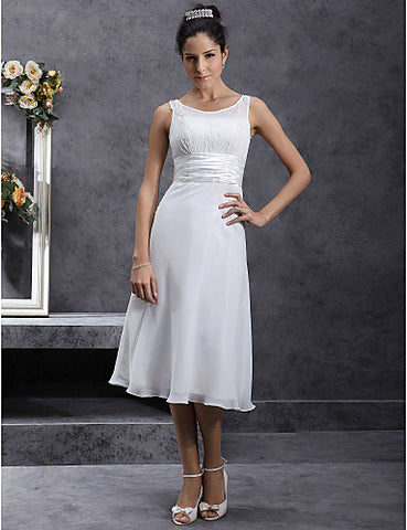 Wedding Dress Sheath Column Tea Length Chiffon and Stretch Satin Scoop Straps With Beading Appliques