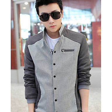 Men's Fashion Stand Collar Contrast Color Jacket