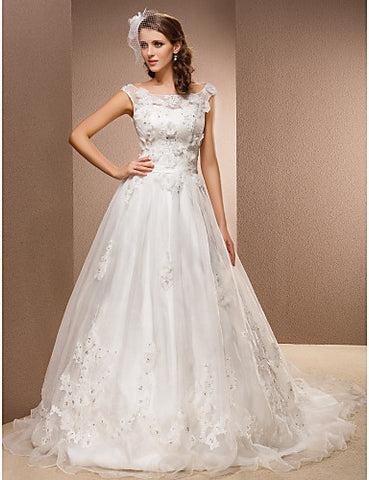 A-line Scoop Chapel Train Organza And Lace Wedding Dress