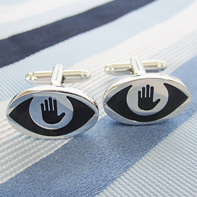 Men's Silver Alloy Oval Cufflinks