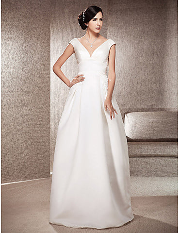 Wedding Dress A Line Floor Length Satin V Neck Off the Shoulder Bridal Gown