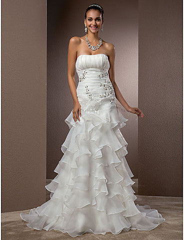 Fit and Flare Strapless Court Train Organza Wedding Dress With Removable Train