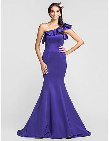 Trumpet/Mermaid One Shoulder Court Train Satin Bridesmaid Dress