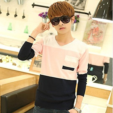 Men's V-Neck Contrast Color Splicing Slim Sweater