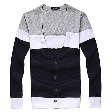 Men's Color Mathcing Long Sleeve Knit Shirt