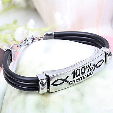 Fashion Creative One Hundred Percent Cristiano Black Alloy Leather Chain&Link Bracelet(1 Pc)