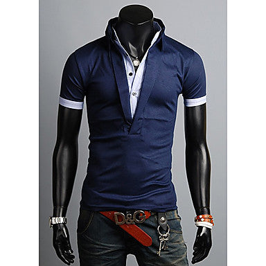 Men's False Two Piece Slim POLO Shirt