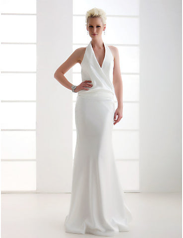 Wedding Dress Sheath Column Floor Length Elastic Woven Satin Halter Bridal Gown