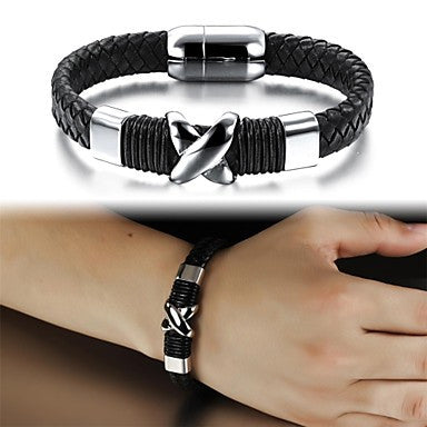 Leather Woven X Titanium Steel Bracelet