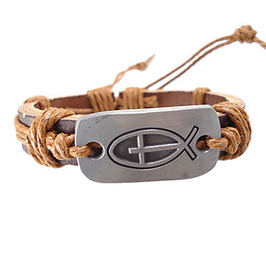 European 17Cm Men's Brown Leather Bracelet(Yellow,Brown,Black,Hunter Green)(1 Pc)