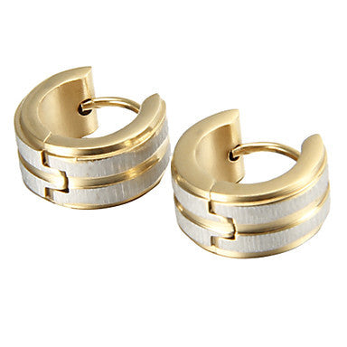 Gift For Boyfriend Classic Polishing Gold Titanium Steel Stud Earrings (1 Pair)