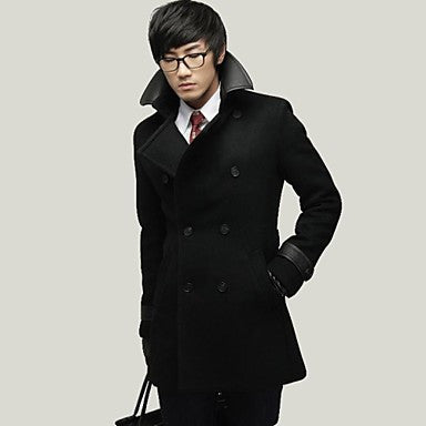 Men's Double Breasted Coat Lapel Leather Collar Fashion Slim Trench