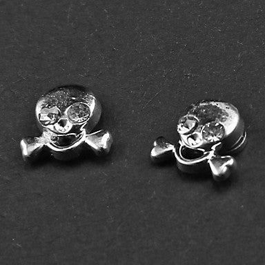 Punk White Rhinestone Skull Magnetic Earrings(1 Pair)