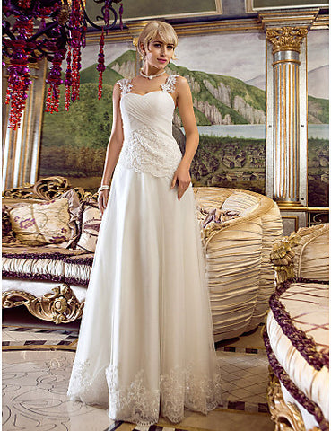 A-line Off-the-shoulder Floor-length Tulle Wedding Dress (682821)