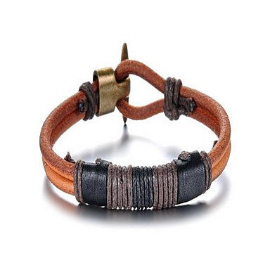 Fashion Delicacy Men's Brown And Black Alloy Leather Bracelet(1 Pc)