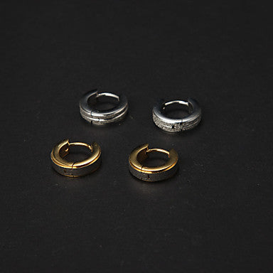 Cheap Men's Stainless Steel Huggie Earrings(2 Pairs)