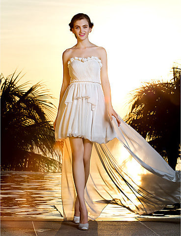 A-line Strapless Asymmetrical Georgette Wedding Dress (783929)