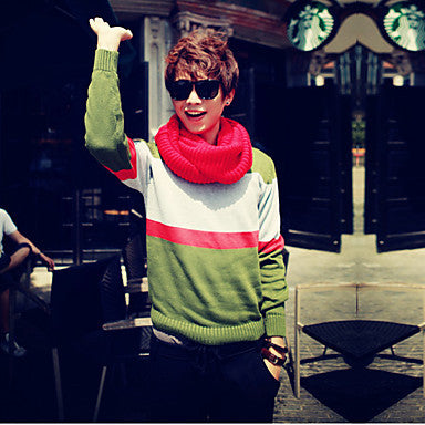 Men's V-Neck Splicing Long Sleeve Knitwear