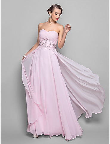 A-line Sweetheart Floor-length Georgette Evening Dress