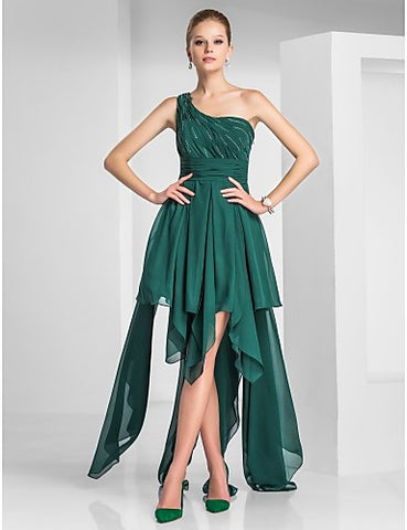 A-line One Shoulder Asymmetrical Chiffon Cocktail Dress