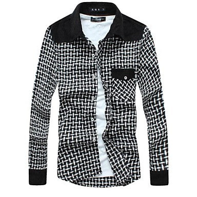 Men's 2015 Spring Plaid Casual Fashion Long Sleeve Shirt