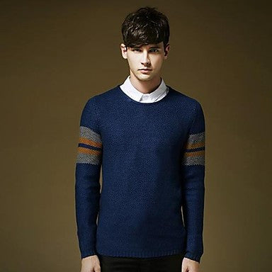 Men's V Neck Contrast Color Long Sleeve Sweater Shirt