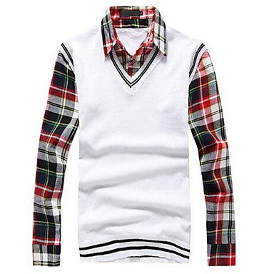 Men's Autumn Korean Cultivating False Two Shirt Collar Sweater