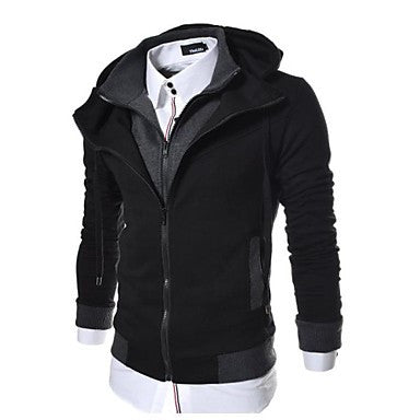 Men's Slim Fit Solid Patched Hood Zip Up Jacket