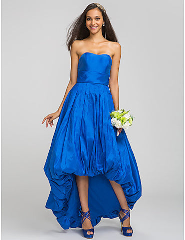 A-line Strapless Asymmetrical Sash/Ribbon Taffeta Bridesmaid Dress