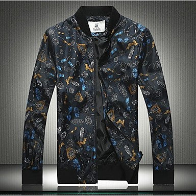 Men's Fashion Printed Zipper Long Sleeved Jacket