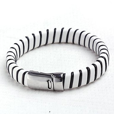 Mumar Fshionable Personalized Bracelet Leather Rope Wrap Stainless Steel Jewelry