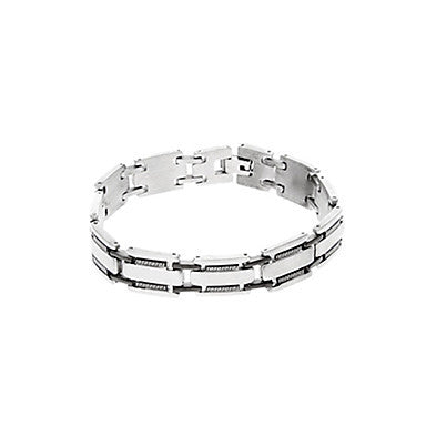 Classic Simple Bell 44cm Men's Black Titanium Steel ID Bracelet(1 Pc)