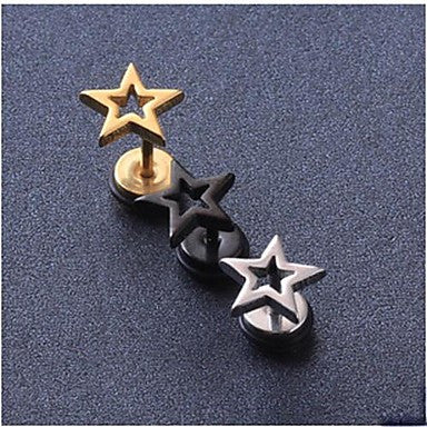 European Fash Pentagram Titanium Steel Stud Earrings(Black,Silver,Gold) (1 Pc)