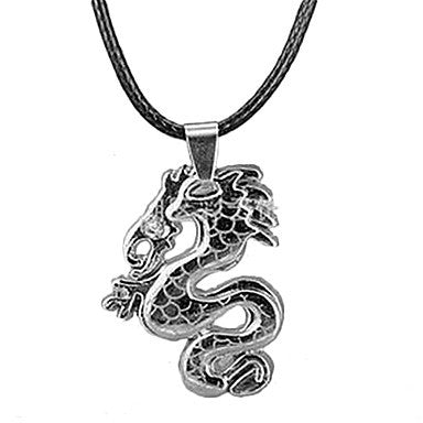 Ethnic Classic (Dragon) Black Leather Pendant Necklace(Black,Blue,White) (1 Pc)