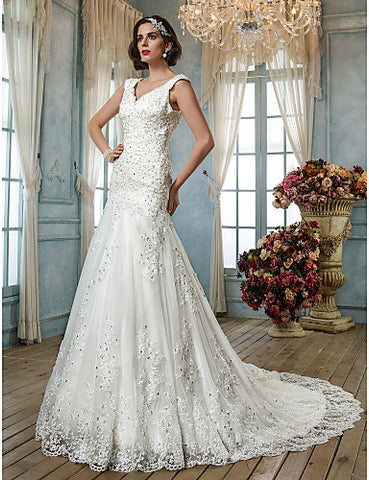 A-line Princess Queen Anne Tulle Wedding Dress