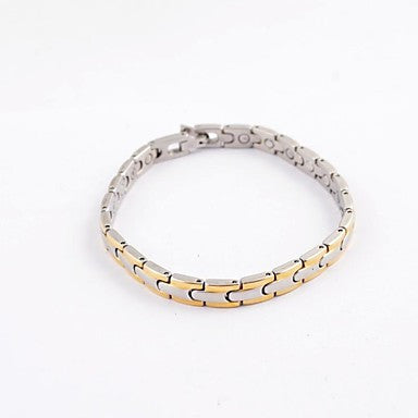 Fashion Men's Gold and Silver Health Magnet Titanium Steel Tennis Bracelet