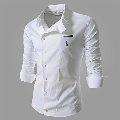 Men's Casual Slant Buckle Deer Embroidery Frock Shirt
