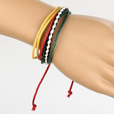 Adjustable Men's Leather Bracelet Very Cool Green Red Yellow Rope White and Black Leather (1 Piece)