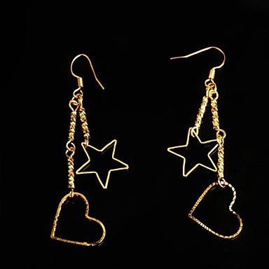 Fashion Star and Heart Shaped Golden Metal Stud Earrings