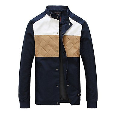 Men's Stand Collar Stylish Splicing Jacket