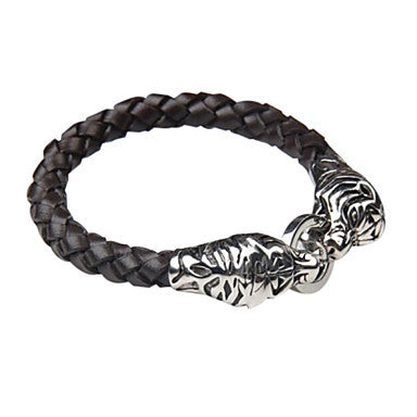 Black Woven Leather Bracelet with Stainless Steel Wolf Head clasp