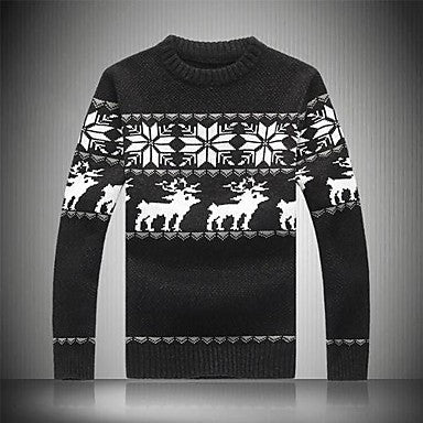 Men's Thickening Printing Round Neck Sweaters