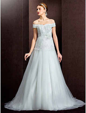 A-line/Princess Off-the-shoulder Court Train Tulle Wedding Dress (1798936)